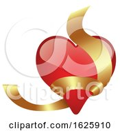 Poster, Art Print Of Red Valentines Day Heart With Gold Ribbon