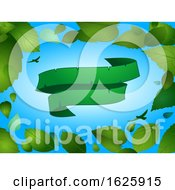 Spring Background With Blank Green Banner Leaves