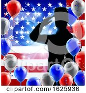 Poster, Art Print Of Saluting Soldier American Flag Balloon Background
