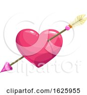 Poster, Art Print Of Valentines Day Heart Pierced With Cupids Arrow
