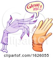 Poster, Art Print Of Cartoon Zombie And Hand With Glove Me