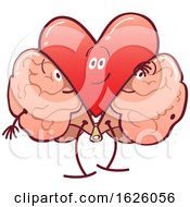 Poster, Art Print Of Cartoon Heart Character Shedding A Brain Costume
