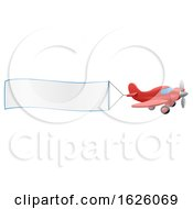 Airplane Pulling Banner Cartoon