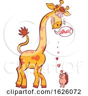 Cartoon Giraffe Having Trouble Hearing A Hedgehog Declaring His Love