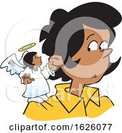 Poster, Art Print Of Cartoon Female Angel On A Black Womans Shoulder