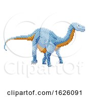 Dinosaur Diplodocus Pixel Art Arcade Game Cartoon