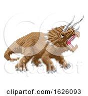 Dinosaur Triceratops Pixel Art Arcade Game Cartoon