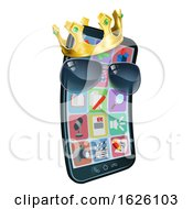 Mobile Phone Cool Shades King Crown Cartoon Mascot