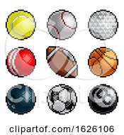 Poster, Art Print Of Pixel Art 8 Bit Video Arcade Game Sport Ball Icons