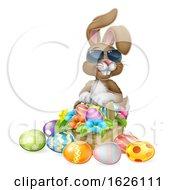 Poster, Art Print Of Cool Easter Bunny Rabbit Eggs Hunt Basket Cartoon