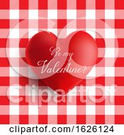 Poster, Art Print Of Valentines Day Heart On A Red And White Gingham Pattern