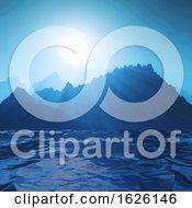 3D Mountain Landscape Against Ocean