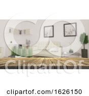 3D Wooden Table Looking Out To A Defocussed Modern Living Room
