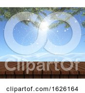 Poster, Art Print Of 3d Wooden Table Looking Out To A Snowy Landscape