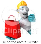 3d Blond Haired Male Robot Character On A White Background