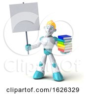 Poster, Art Print Of 3d Blond Haired Male Robot Character On A White Background