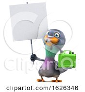3d Pigeon, on a White Background by Julos #COLLC1626346-0108