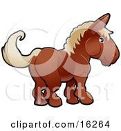 Adorable Brown Horse With Tan Hair Clipart Illustration