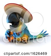 Poster, Art Print Of 3d Blue And Yellow Macaw Parrot On A White Background