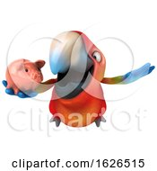 Poster, Art Print Of 3d Scarlet Macaw Parrot On A White Background
