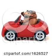 Poster, Art Print Of 3d Brown T Rex Dinosaur Driving A Convertible On A White Background