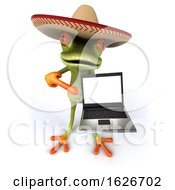 3d Green Mexican Business Frog On A White Background