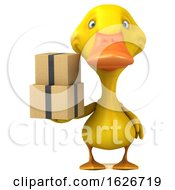 3d Yellow Duck On A White Background