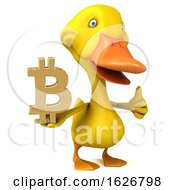 Poster, Art Print Of 3d Yellow Duck On A White Background