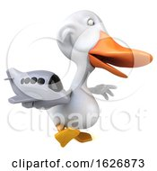 Poster, Art Print Of 3d White Duck On A White Background