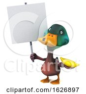 Poster, Art Print Of 3d Mallard Drake Duck On A White Background