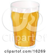 Glass Of Frothy Beer With Bubbles Fizzing From The Bottom To The Top Clipart Illustration