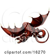 Dark Blood Red Dragon In Flight Over A White Background Clipart Illustration