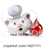 3d Chef White Cat On A White Background