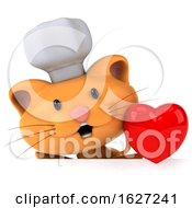 Poster, Art Print Of 3d Chef Ginger Cat On A White Background