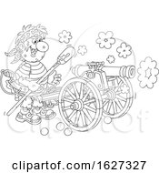 Black And White Pirate Firing A Cannon
