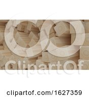 Poster, Art Print Of Render Of 3d Construction Timber Beams And Planks