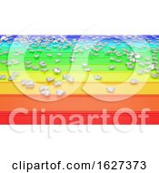 3D Render Of Hearts On Rainbow Background