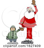 Santa Holding A Boys Hand And Waving