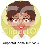 Poster, Art Print Of Happy Black Female Receptionist With Glasses Over A Green Circle