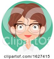Poster, Art Print Of Happy White Female Receptionist With Glasses Over A Circle