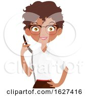Black Female Receptionist Holding A Telephone