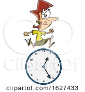 Cartoon White Business Woman Running Over A Clock