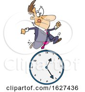 Cartoon White Business Man Running Over A Clock