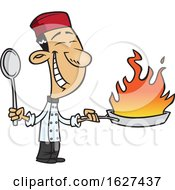 Poster, Art Print Of Cartoon Happy Asian Chef Holding A Flaming Wok