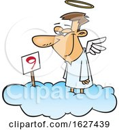 Poster, Art Print Of Cartoon White Male Angel Grinning On Cloud Nine