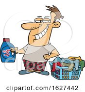 Cartoon Grinning Laundry Lord Man Holding Detergent By A Basket