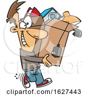 Cartoon Happy White Man Carrying A Box Of Stuff To Get Rid Of