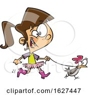 Poster, Art Print Of Cartoon White Girl Walking A Chicken On A Leash
