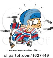 Cartoon White Boy Being Attacked With Hockey Pucks