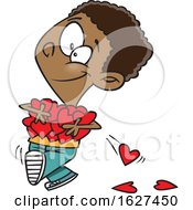Cartoon Black Boy Holding An Armful Of Valentines Day Love Hearts